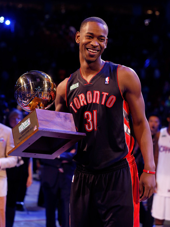 Description of . HOUSTON, TX - FEBRUARY 16:  Terrence Ross of the Toronto Raptors celebrates after winning the Sprite Slam Dunk Contest part of 2013 NBA All-Star Weekend at the Toyota Center on February 16, 2013 in Houston, Texas.  (Photo by Scott Halleran/Getty Images)