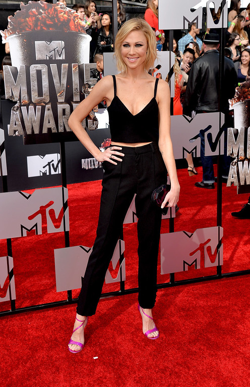 Description of . Actress Desi Lydic attends the 2014 MTV Movie Awards at Nokia Theatre L.A. Live on April 13, 2014 in Los Angeles, California.  (Photo by Michael Buckner/Getty Images)