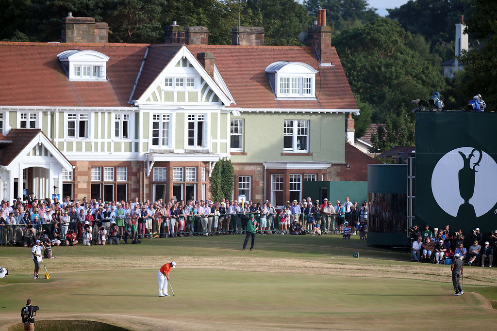 Description of . England's Lee Westwood putts on the 18th green during the third round of the 2013 British Open Golf Championship at Muirafield golf course at Gullane in Scotland on July 20, 2013.  ADRIAN DENNIS/AFP/Getty Images