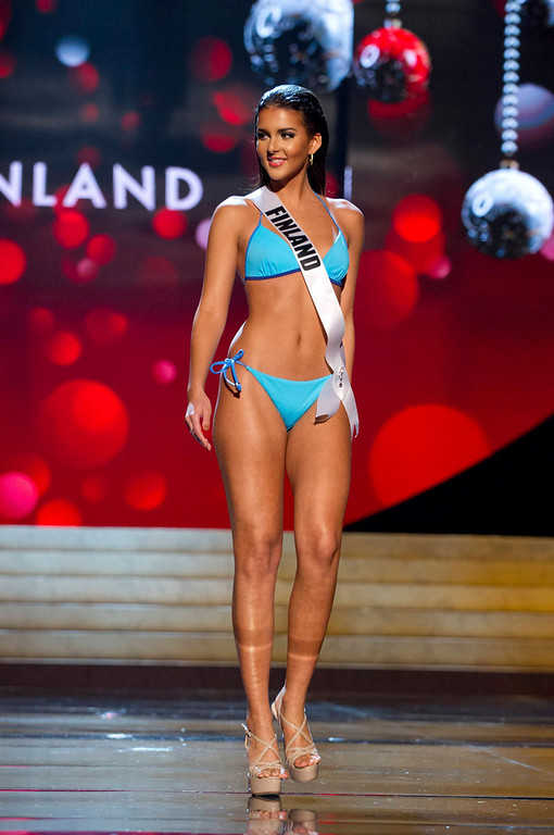 Description of . Miss Finland 2012 Sara Yasmina Chafak competes during the Swimsuit Competition of the 2012 Miss Universe Presentation Show at PH Live in Las Vegas, Nevada December 13, 2012. The Miss Universe 2012 pageant will be held on December 19 at the Planet Hollywood Resort and Casino in Las Vegas. REUTERS/Darren Decker/Miss Universe Organization L.P/Handout