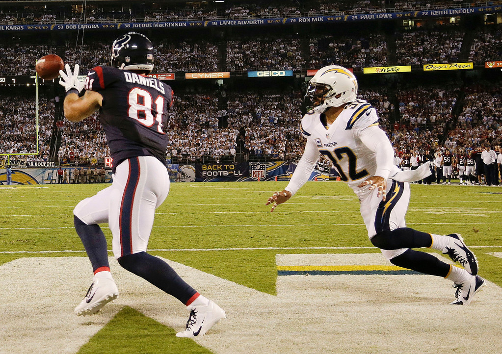 Description of . Houston Texans tight end Owen Daniels, left, scores while being defended by San Diego Chargers defensive back Jahleel Addae during the first half of an NFL football game Monday, Sept. 9, 2013, in San Diego. (AP Photo/Gregory Bull)