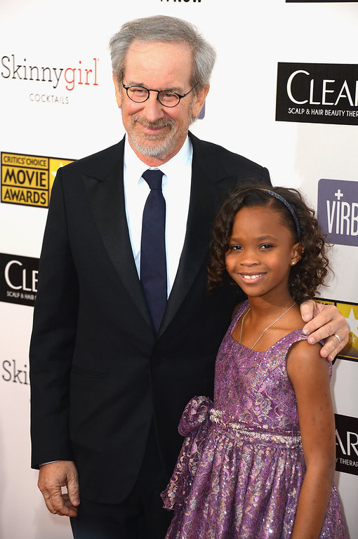 Description of . Director Steven Spielberg and actress Quvenzhané Wallis  arrive at the 18th Annual Critics' Choice Movie Awards at Barker Hangar on January 10, 2013 in Santa Monica, California.  (Photo by Frazer Harrison/Getty Images)
