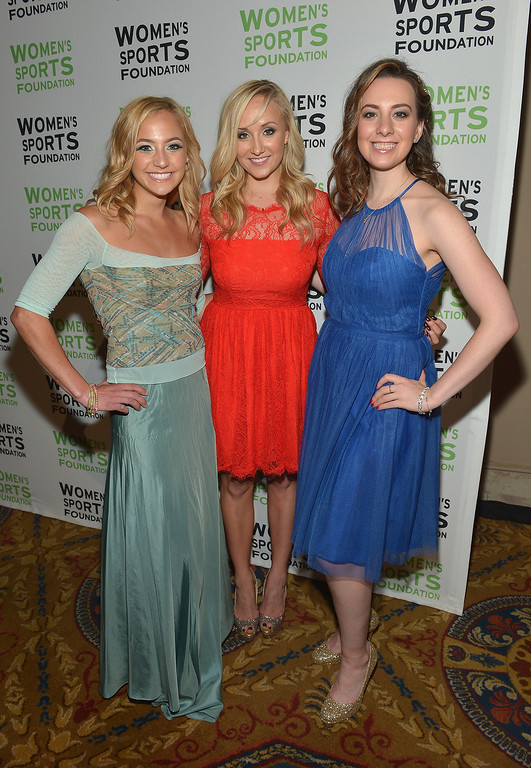 Description of . NEW YORK, NY - OCTOBER 16:  (L-R) Sasha DiGiulian, Nastia Liukin and Sarah Hughe attend the 34th annual Salute to Women In Sports Awards at Cipriani, Wall Street on October 16, 2013 in New York City.  (Photo by Mike Coppola/Getty Images for the Women's Sports Foundation)