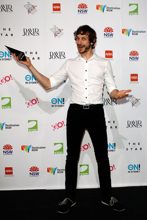 Description of . Gotye poses with the ARIA for Album of the Year at the 26th Annual ARIA Awards 2012 at the Sydney Entertainment Centre on November 29, 2012 in Sydney, Australia.  (Photo by Caroline McCredie/Getty Images)