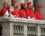 Cardinals stand on a balcony after Germany's Joseph Ratzinger, the new Pope Benedict XVI,  appeared at the window of St Peter's Basilica's main balcony after being elected the 265th pope of the Roman Catholic Church 19 April 2005 at the Vatican City.  FILIPPO MONTEFORTE/AFP/Getty Images