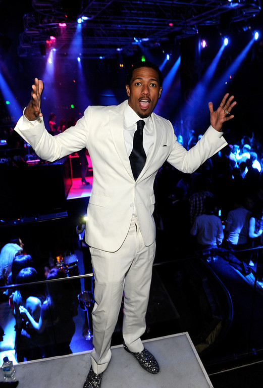 Description of . Actor Nick Cannon attends a private party celebrating CES 2014 hosted by iHeartRadio featuring a live performance by Krewella at Haze Nightclub at the Aria Resort & Casino at CityCenter on January 8, 2014 in Las Vegas, Nevada.  (Photo by David Becker/Getty Images for Clear Channel)