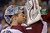 Colorado Avalanche goalie Semyon Varlamov, of Russia, washes his face after Los Angeles Kings center Trevor Lewis scored on him during the second period of their NHL hockey game, Saturday, Feb. 23, 2013, in Los Angeles. (AP Photo/Mark J. Terrill)