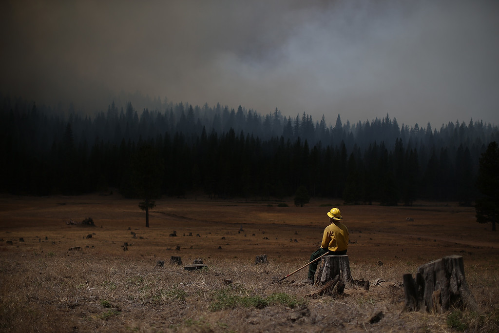 Description of . U.S. Fish and Wildlife Service firefighter Corey Adams sits on a tree stump as he monitors the Rim Fire on August 25, 2013 near Groveland, California. The Rim Fire continues to burn out of control and threatens 4,500 homes outside of Yosemite National Park.  (Photo by Justin Sullivan/Getty Images)