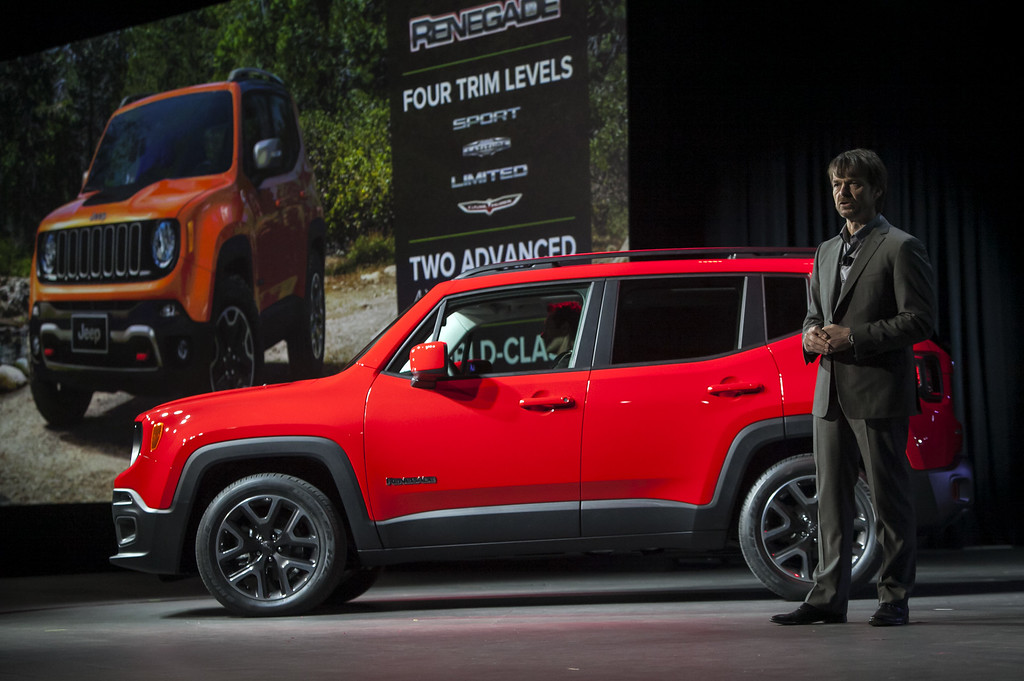 Description of . Michael \'Mike\' Manley, chief executive officer of Chrysler Group LLC\'s Jeep brand, speaks during the unveiling of the Jeep Renegade Trail Hawk sport utility vehicle during a media preview of the 2014 New York International Auto Show April 16, 2014 in New York City. The show opens with a sneak preview to the public April 18 and runs through April 27.  (Photo by Eric Thayer/Getty Images)