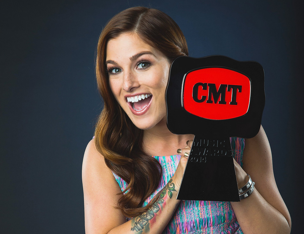 Description of . Winner of 'Breakthrough Video of the Year', Cassadee Pope, poses at the 2014 CMT Music Awards - Wonderwall Portrait Studio at Bridgestone Arena on June 4, 2014 in Nashville, Tennessee.  (Photo by Christopher Polk/Getty Images for Wonderwall)
