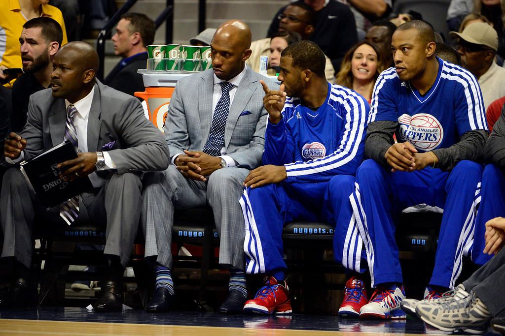 Description of . Los Angeles Clippers point guard Chauncey Billups gives advice to fellow point guard Chris Paul (3) during the first half at the Pepsi Center on Tuesday, January 1, 2013. AAron Ontiveroz, The Denver Post