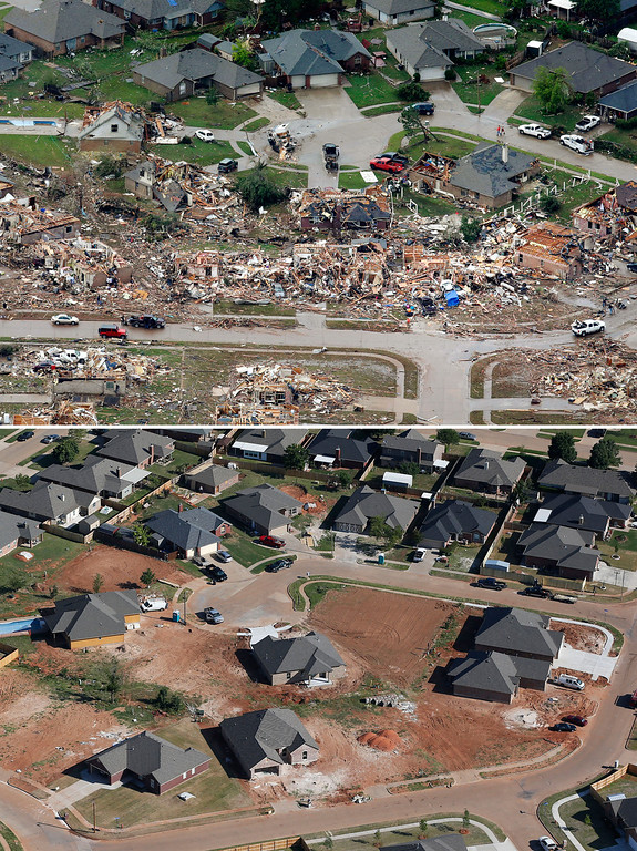 Description of . This aerial photo combination shows the damage to a neighborhood on May 21, 2013, the day after a massive tornado hit Moore, Okla., top, and reconstruction continues in the neighborhood on May 15, 2014, bottom. (AP Photo)
