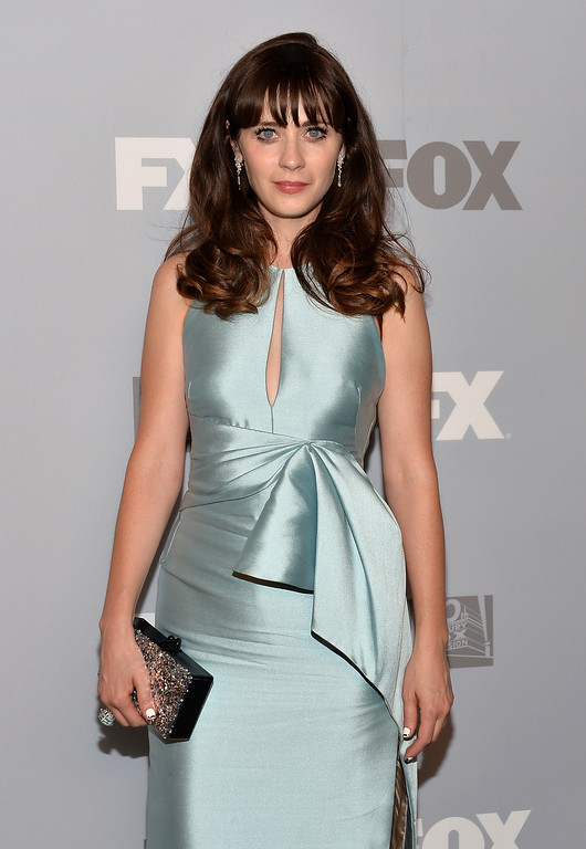 Description of . Actress Zooey Deschanel attends the FOX Broadcasting Company, Twentieth Century FOX Television and FX Post Emmy Party at Soleto on September 22, 2013 in Los Angeles, California.  (Photo by Alberto E. Rodriguez/Getty Images)