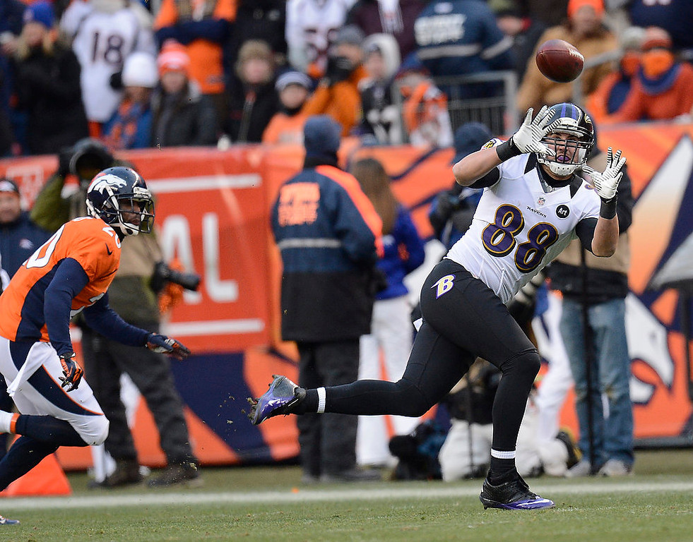 Description of . Baltimore Ravens tight end Dennis Pitta (88) catches a pass for 15 yards at the end of the second quarter. The Denver Broncos vs Baltimore Ravens AFC Divisional playoff game at Sports Authority Field Saturday January 12, 2013. (Photo by Joe Amon,/The Denver Post)