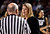 University of Colorado head coach Linda Lappe has words with the referee during a games against the University of Denver on Tuesday, Dec. 11, at the Magnus Arena on the DU campus in Denver.   (Jeremy Papasso/Daily Camera)