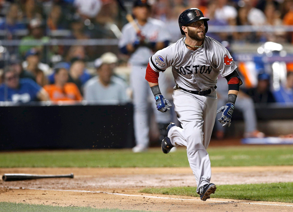 Description of . American League's Dustin Pedroia, of the Boston Red Sox, grounds out in the third inning against the National League during Major League Baseball's All-Star Game in New York, July 16, 2013. REUTERS/Mike Segar