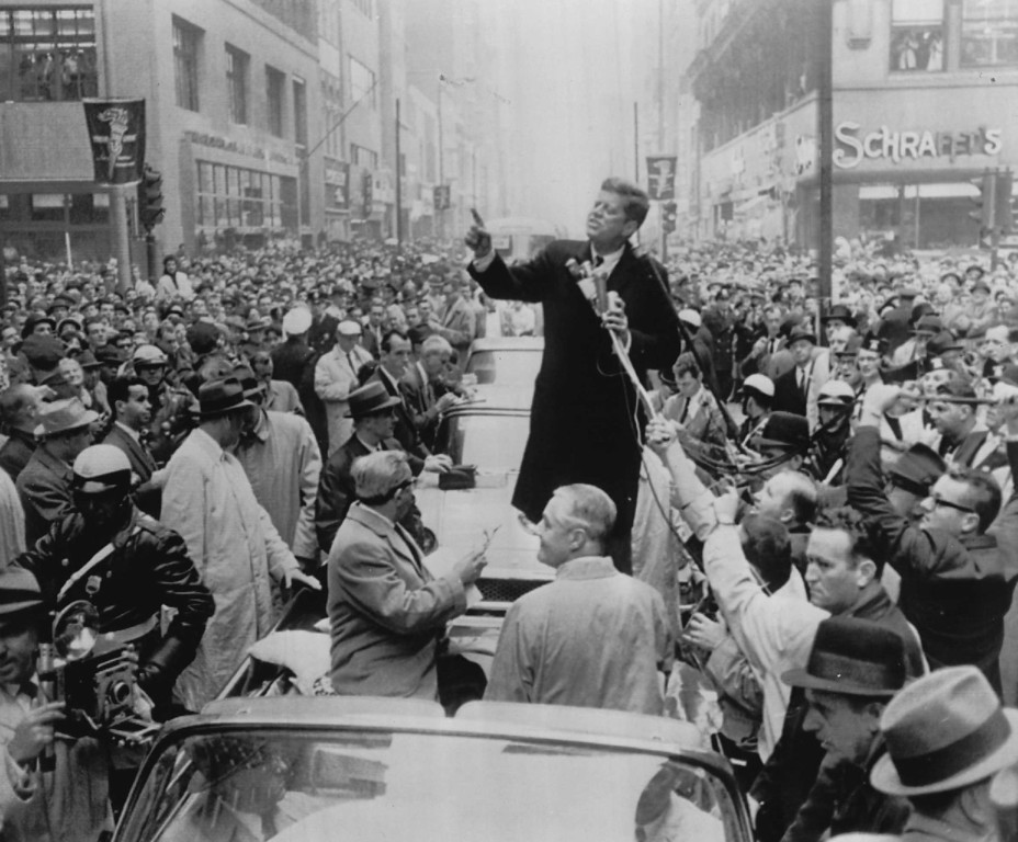 . Sen. Kennedy, democratic presidential candidate, speaks before a crowd in front of the Philadelphia Citizens for Kennedy Headquarters in November  1960. Denver Post Archive