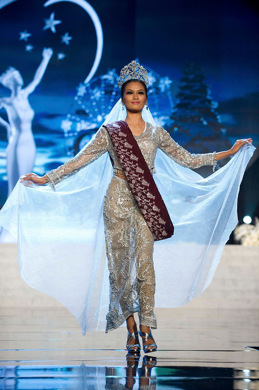 Description of . Miss Philippines Janine Tugonon performs onstage at the 2012 Miss Universe National Costume Show at PH Live in Las Vegas, Nevada December 14, 2012. The 89 Miss Universe Contestants will compete for the Diamond Nexus Crown on December 19, 2012. REUTERS/Darren Decker/Miss Universe Organization/Handout