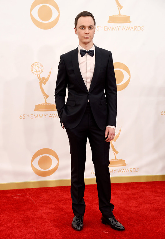 Description of . Actor Jim Parsons arrives at the 65th Annual Primetime Emmy Awards held at Nokia Theatre L.A. Live on September 22, 2013 in Los Angeles, California.  (Photo by Frazer Harrison/Getty Images)