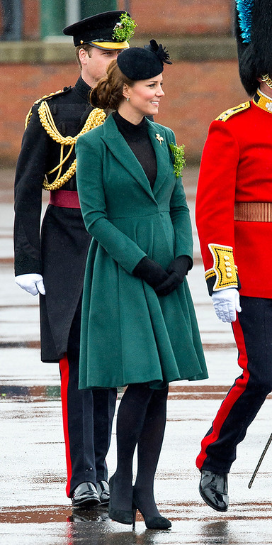 Description of . Catherine, Duchess of Cambridge attends a St Patrick\'s Day parade by the 1st Battalion Irish Guards as she visits Aldershot Barracks on St Patrick\'s Day on March 17, 2013 in Aldershot, England.  (Photo by Ben Pruchnie/Getty Images)
