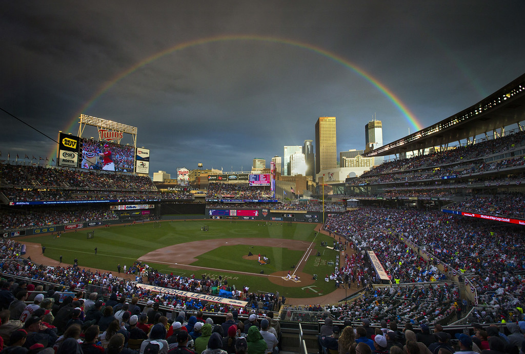 Description of . American League's Brian Dozier, of the Minnesota Twins, took the plate following a rain delay in the MLB All-Star baseball Home Run Derby, Monday, July 14, 2014, in Minneapolis. (AP Photo/The Star Tribune, Brian Mark Peterson)