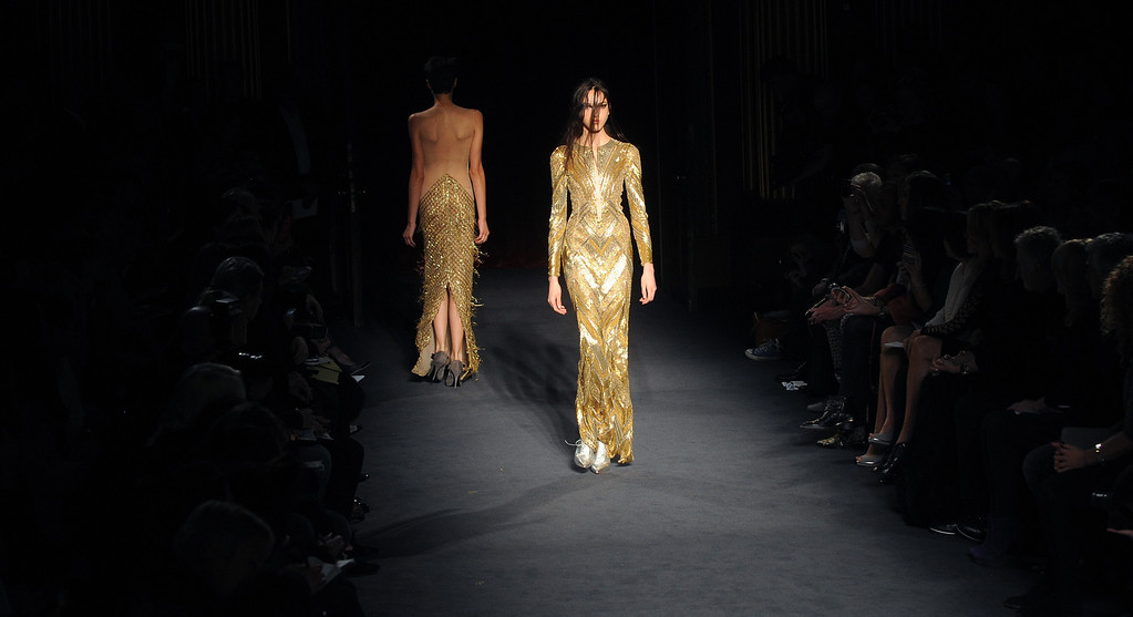 Description of . LONDON, UNITED KINGDOM - FEBRUARY 16: Models walk the runway at the Julien Macdonald show during London Fashion Week Fall/Winter 2013/14 at Goldsmiths\' Hall on February 16, 2013 in London, England. (Photo by Stuart Wilson/Getty Images)