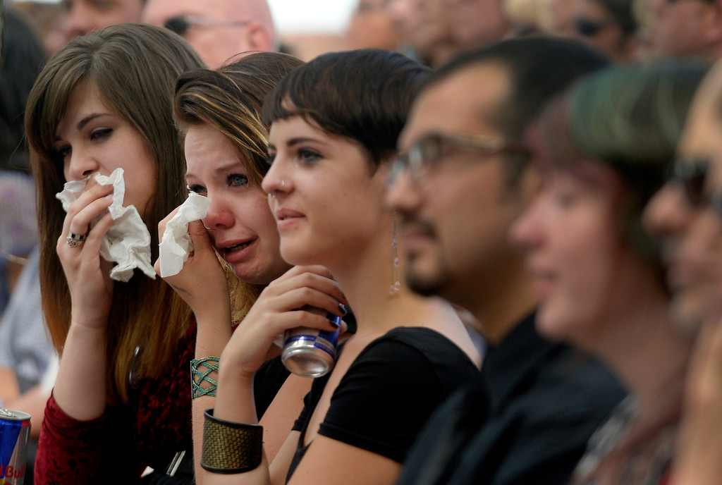 Description of . BOULDER, CO. - SEPTEMBER 21: Over 350 people joined together to honor Wesley Quinlan and Wiyanna Nelson during a memorial service  at the National Center for Atmospheric Research in Boulder, Colo. September 21, 2013. The couple died in the recent flood. (Photo By Craig F. Walker / The Denver Post)