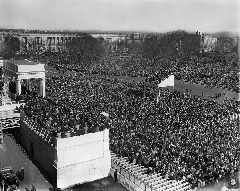 Description of . A crowd estimated at 75,000 people jams Capitol Plaza in Washington, Jan. 20, 1941, for the third term inauguration of President Franklin Delano Roosevelt, as the president was making his inaugural address. (AP Photo)