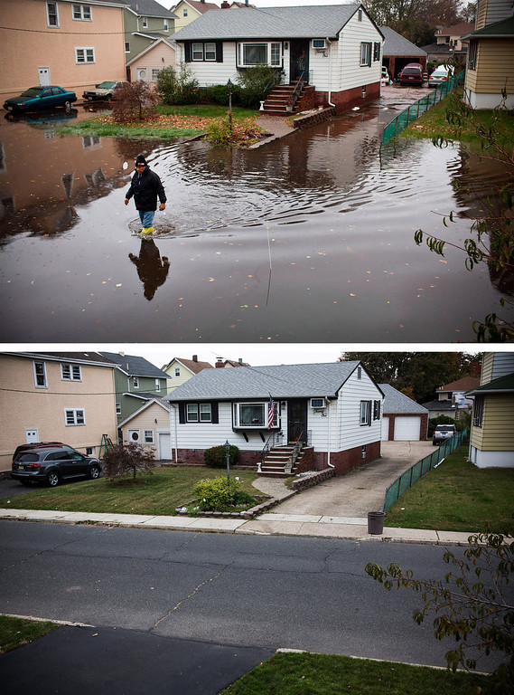 Description of . LITTLE FERRY, NJ - OCTOBER 30:  (top) A man walks through a flooded street after Superstorm Sandy, on October 30, 2012, in Little Ferry, New Jersey.  LITTLE FERRY, NJ - OCTOBER 22:  (bottom)  The same house is shown in Little Ferry, New Jersey October 22, 2013.   Hurricane Sandy made landfall on October 29, 2012 near Brigantine, New Jersey and affected 24 states from Florida to Maine and cost the country an estimated $65 billion.  (Photos by Andrew Burton/Getty Images)