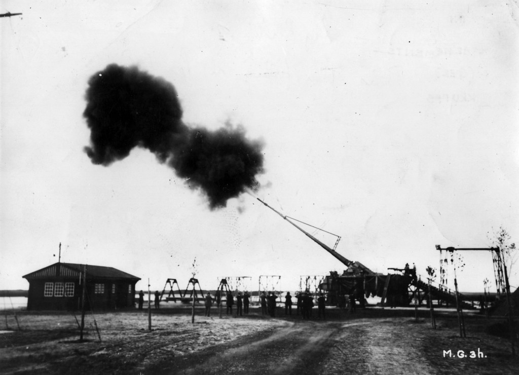 Description of . Big Bertha, the Howitzer L/14, manufactured by the German industrialist Gustav Krupp. With a range of 122km, it bombarded Paris for 20 months during 1917.   (Photo by Hulton Archive/Getty Images)