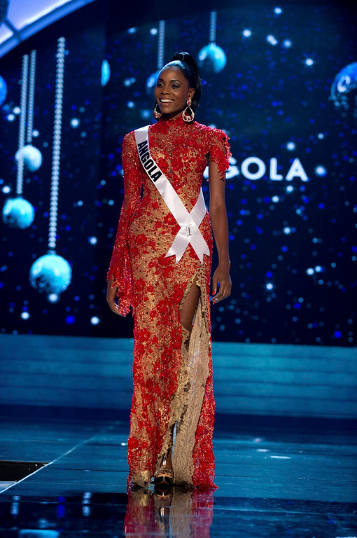 Description of . Miss Angola Marcelina Vahekeni competes in an evening gown of her choice during the Evening Gown Competition of the 2012 Miss Universe Presentation Show at PH Live in Las Vegas, Nevada December 13, 2012. The 89 Miss Universe Contestants will compete for the Diamond Nexus Crown on December 19, 2012. REUTERS/Darren Decker/Miss Universe Organization/Handout