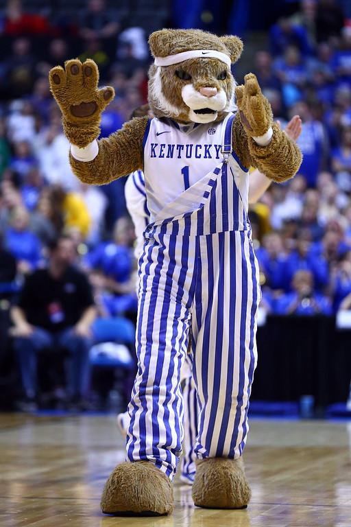 Description of . The Kentucky Wildcats mascot cheers against the Wichita State Shockers during the third round of the 2014 NCAA Men's Basketball Tournament at Scottrade Center on March 23, 2014 in St Louis, Missouri.  (Photo by Dilip Vishwanat/Getty Images)