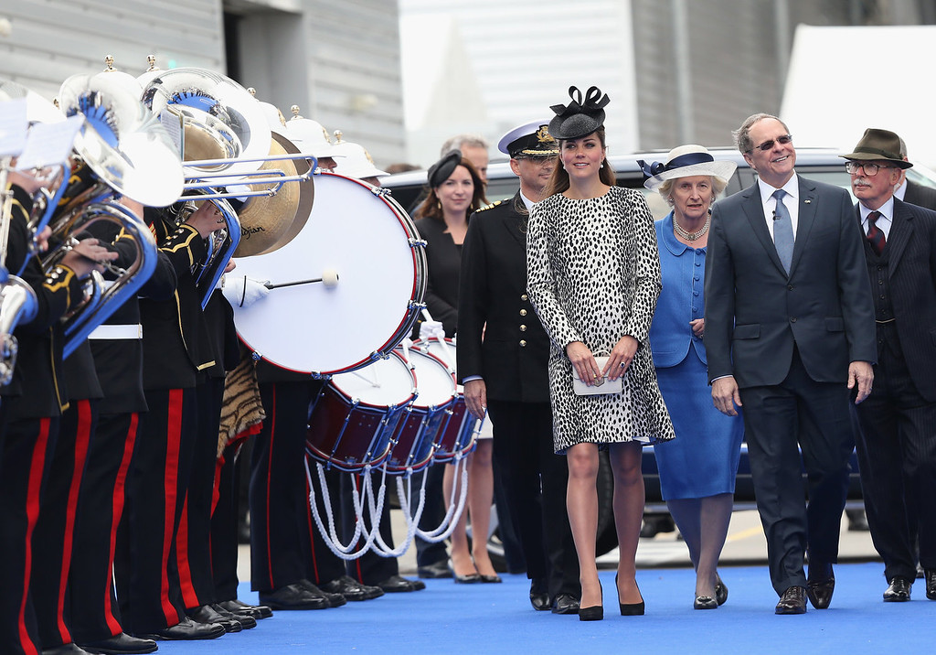 Description of . (L-R) Captain Tony Draper, Catherine, Duchess of Cambridge and  President and CEO of Princess Cruises Alan Buckelew  arrive for the Princess Cruises ship naming ceremony at Ocean Terminal on June 13, 2013 in Southampton, England.  (Photo by Chris Jackson- WPA Pool/Getty Images)