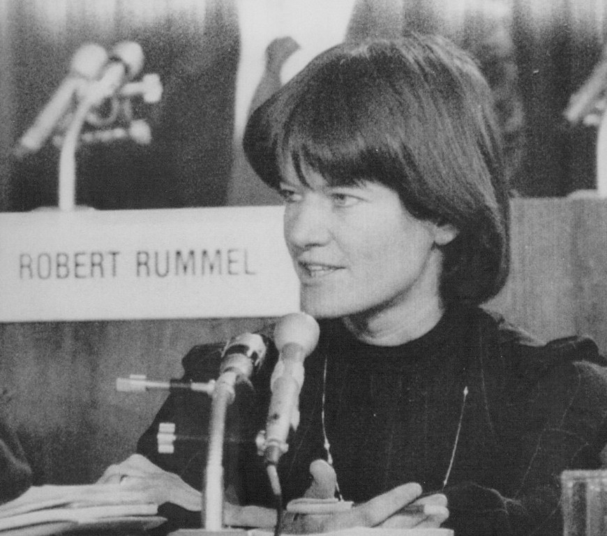 Description of . Astronaut Sally Ride, a member of the presidential commission on the space shuttle Challenger accident asks a question during a hearing at the State Department in Washington on Feb. 26, 1986.  Credit: AP Laserphoto