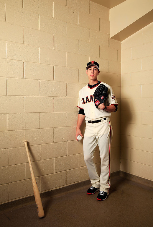 Description of . SCOTTSDALE, AZ - FEBRUARY 20:  Pitcher Tim Lincecum #55 poses for a portrait during San Francisco Giants Photo Day on February 20, 2013 in Scottsdale, Arizona.  (Photo by Jamie Squire/Getty Images)