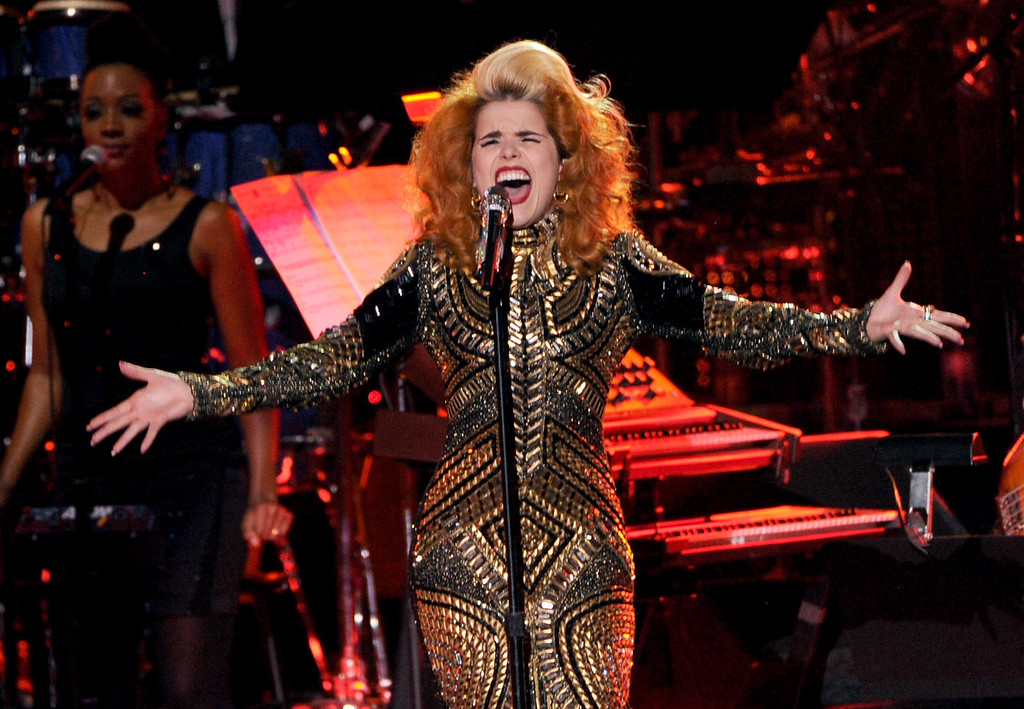 "Description of . LOS ANGELES, CA - DECEMBER 16:  Singer Paloma Faith performs onstage during ""VH1 Divas\"" 2012 at The Shrine Auditorium on December 16, 2012 in Los Angeles, California.  (Photo by Kevin Winter/Getty Images)"