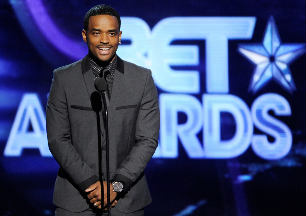 Description of . Larenz Tate speaks on stage at the BET Awards at the Nokia Theatre on Sunday, June 29, 2014, in Los Angeles. (Photo by Chris Pizzello/Invision/AP)