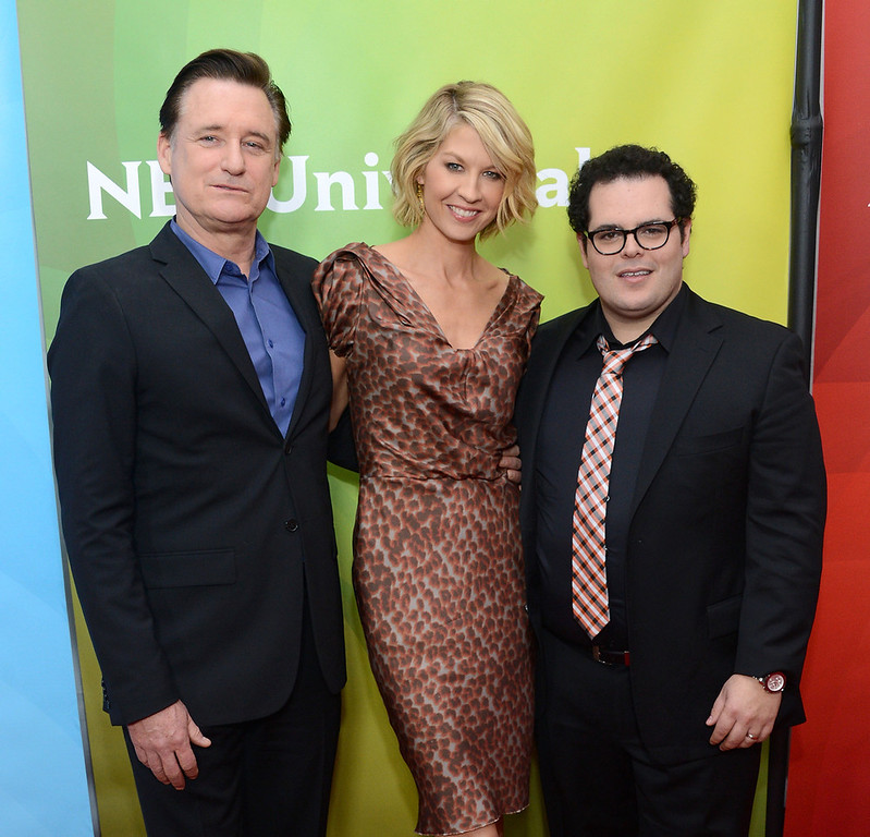 "Description of . Bill Pullman, Jenna Elfman and Josh Gad attend NBCUniversal\'s ""2013 Winter TCA Tour\"" Day 1 at Langham Hotel on January 6, 2013 in Pasadena, California.  (Photo by Jason Kempin/Getty Images)"