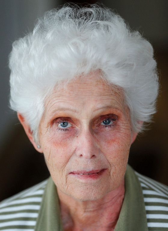 Description of . Ingrid Foerster, 82, poses for a photo in Frankfurt on Wednesday, June 26, 2013. When asked: As you grow older, what are you most afraid of and what is the biggest problem facing the elderly in your country? Foerster said