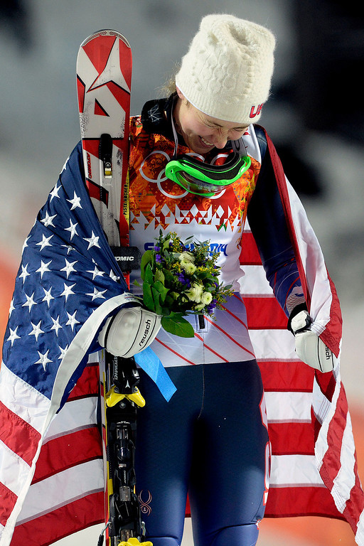 Description of . Gold medalist American Mikaela Shiffrin reacts after winning the ladies' slalom run 2. Sochi 2014 Winter Olympics on Friday, February 21, 2014 at Rosa Khutor Alpine Center. (Photo by AAron Ontiveroz/ The Denver Post)