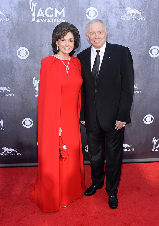 Description of . Dallas Cowboys Owner/President/General Manager Jerry Jones (R) and wife Gene Jones attend the 49th Annual Academy Of Country Music Awards at the MGM Grand Garden Arena on April 6, 2014 in Las Vegas, Nevada.  (Photo by Jason Merritt/Getty Images)