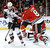 Chicago Blackhawks defenseman Nick Leddy (8) and Colorado Avalanche left wing Patrick Bordeleau battle for a loose puck during the first period of an NHL hockey game, Wednesday, March 6, 2013, in Chicago. (AP Photo/Charles Rex Arbogast)
