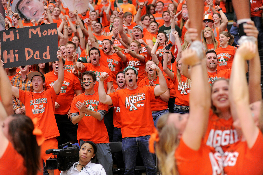 Description of . FT. COLLINS, CO. - FEBRUARY 13: Rams fans painted Moby Arena in Aggies Orange for the game against the Aztecs. Colorado State hosted San Diego State February 13, 2013 at Moby Arena in Fort Collins. (Photo By Karl Gehring/The Denver Post)