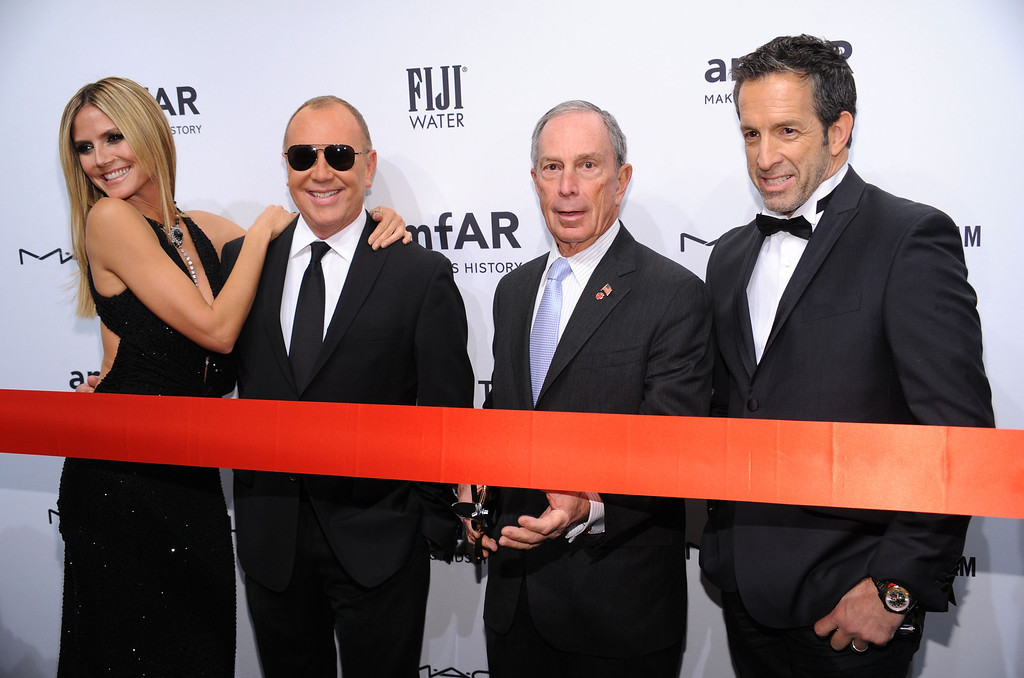 Description of . NEW YORK, NY - FEBRUARY 06:  (L-R) Heidi Klum, Michael Kors, Michael Bloomberg and Kenneth Cole attend the amfAR New York Gala to kick off Fall 2013 Fashion Week at Cipriani Wall Street on February 6, 2013 in New York City.  (Photo by Bryan Bedder/Getty Images for FIJI Water)