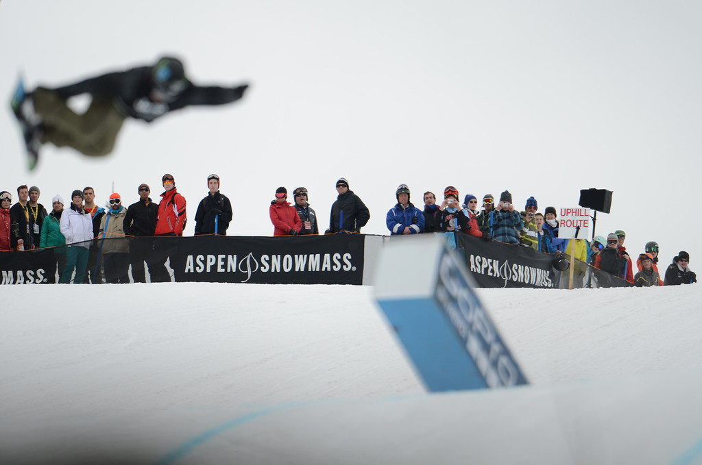 Description of . ASEN, CO. - JANUARY 26:  Fan watch the Men's Snowboard Slopestyle Final, January 26, 2013, at the 2013 Winter X Games at Buttermilk Mountain in Aspen. Mark McMorris won the event. (Photo By RJ Sangosti / The Denver Post)