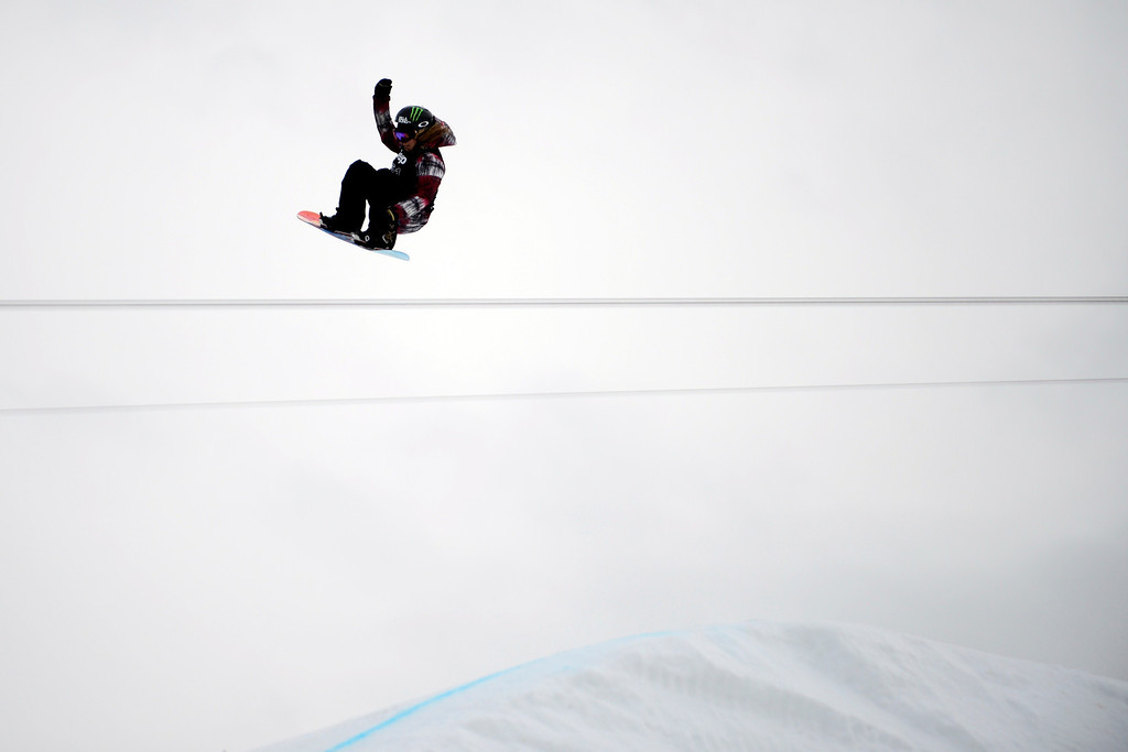 Description of . ASPEN, CO. - JANUARY 26:  Gold medalist Jamie Anderson gets air during the women's snowboard slopestyle finals at the 2013 Aspen X Games on Buttermilk Mountain on January 26, 2013. (Photo By Mahala Gaylord / The Denver Post)