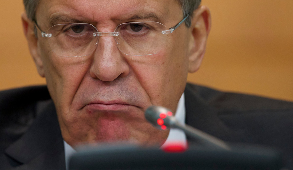 Description of . Russian Foreign Minister Sergey Lavrov speaks during his annual news conference in Moscow, Russia, Wednesday, Jan. 21, 2015. Russia's foreign minister said Wednesday that talks with his counterparts from Ukraine, France and Germany will focus on situation in the Eastern Ukraine. (AP Photo/Ivan Sekretarev)