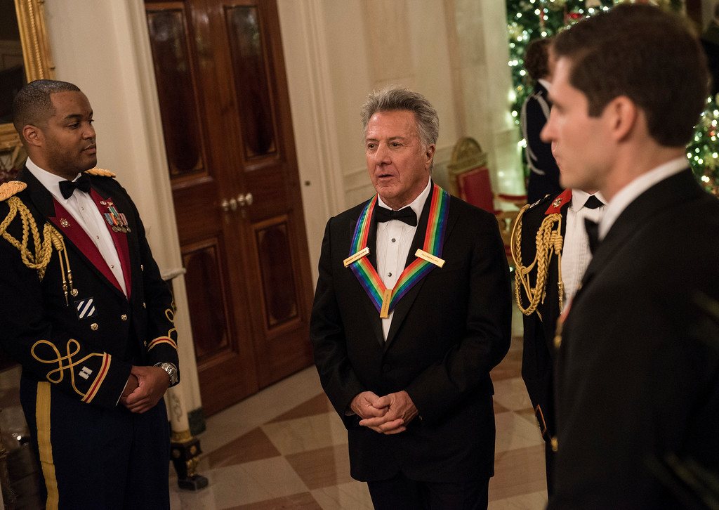 Description of . Kennedy Center Honoree actor Dustin Hoffman arrives for an event in the East Room of the White House December 2, 2012 in Washington, DC. Obama and US First Lady Michelle Obama attended the event at the White House with the 2012 Kennedy Center Honorees before to celebrate their contribution to the arts before heading to the Kennedy Center for the honors program.  BRENDAN SMIALOWSKI/AFP/Getty Images