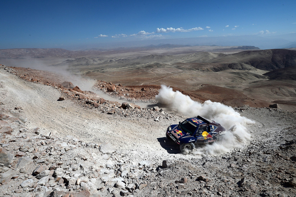 Description of . Qatar's Nasser Al-Attiyah competes during Stage 4 of the Dakar 2013 between Nazca and Arequipa, Peru, on January 8, 2013. The rally will take place in Peru, Argentina and Chile from January 5 to 20. FRANCK FIFE/AFP/Getty Images
