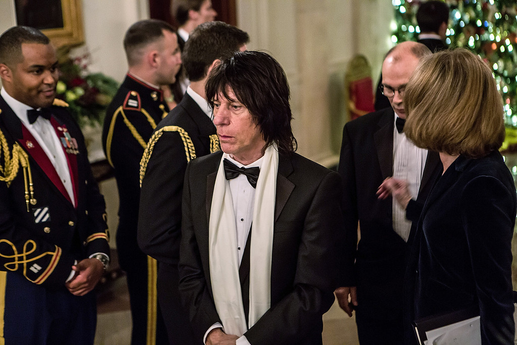 Description of . WASHINGTON - DECEMBER 2: (AFP OUT) Musician Jeff Beck arrives at the Kennedy Center Honors reception at the White House on December 2, 2012 in Washington, DC. The Kennedy Center Honors recognized seven individuals - Buddy Guy, Dustin Hoffman, David Letterman, Natalia Makarova, John Paul Jones, Jimmy Page, and Robert Plant - for their lifetime contributions to American culture through the performing arts. (Photo by Brendan Hoffman/Getty Images)